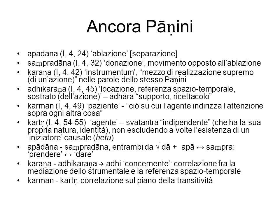 Ancora Pāṇini apādāna (I, 4, 24) 'ablazione' [separazione]